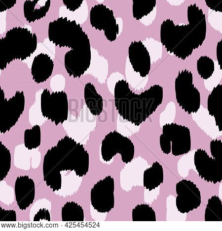 Abstract Modern Leopard Seamless Pattern. Animals Trendy Background. Pink And Black Decorative Vecto