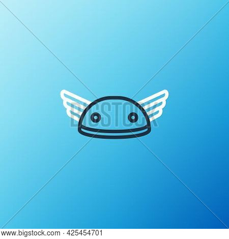 Line Helmet With Wings Icon Isolated On Blue Background. Greek God Hermes. Colorful Outline Concept.