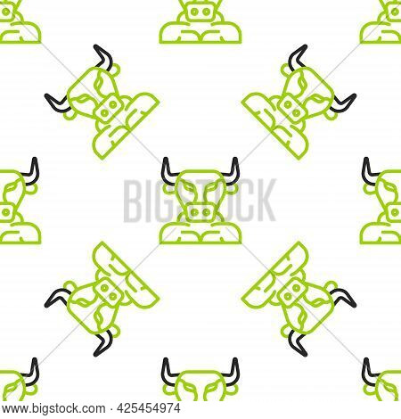 Line Minotaur Icon Isolated Seamless Pattern On White Background. Mythical Greek Powerful Creature T