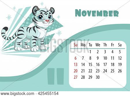 Horizontal Desktop Childrens Calendar Design For November 2022, The Year Of The Tiger In The Chinese