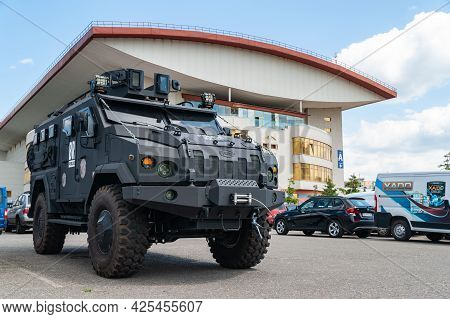 Armored Car. Police Armored Car Of The Varta Brand At The International Exhibition Arms And Security