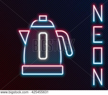 Glowing Neon Line Electric Kettle Icon Isolated On Black Background. Teapot Icon. Colorful Outline C