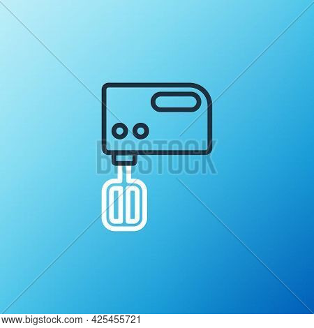 Line Electric Mixer Icon Isolated On Blue Background. Kitchen Blender. Colorful Outline Concept. Vec