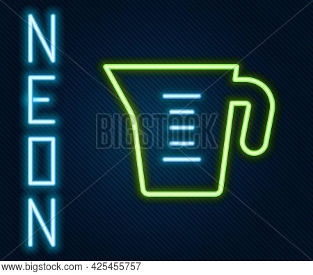 Glowing Neon Line Measuring Cup To Measure Dry And Liquid Food Icon Isolated On Black Background. Pl