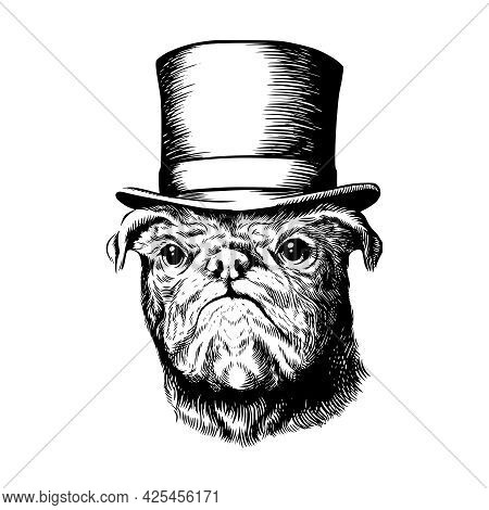 Pug Dog In Top Hat Black And White Vector Illustration