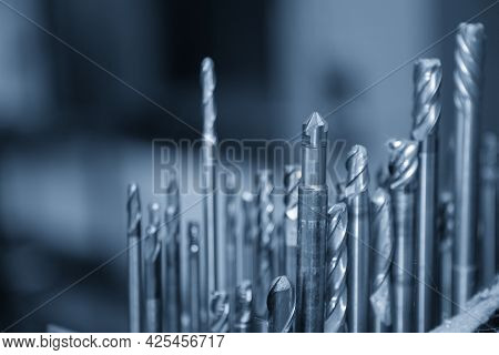 The Close-up Scene Of Various Type  End Mill Tool, Bull Or Radius , And Ball End Mill Tool . The  Cu