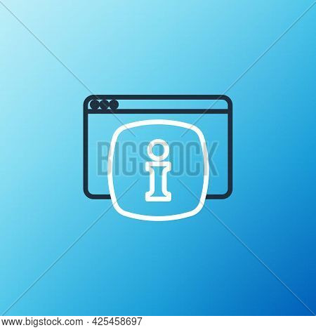 Line Computer Monitor With Text Faq Information Icon Isolated On Blue Background. Frequently Asked Q