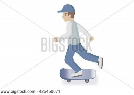Boy On A Skate. Kid With Skate Illustration. Vector Skater Boy Illustration Isolated On White Backgr