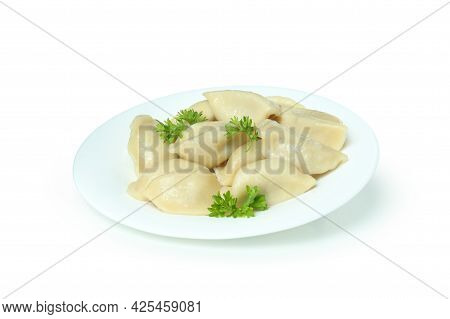 Plate With Vareniki Or Pierogi Isolated On White Background