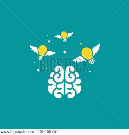 Brain With Flying Bulbs Flat Icon. Isolated On Blue. New Idea, Inspiration Concept. Smart, Clever, C