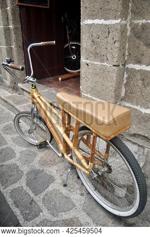 Classic Retro Vintage Antique Bamboo Bicycle Philippine Style Stop Front Of Local House Wait Filipin