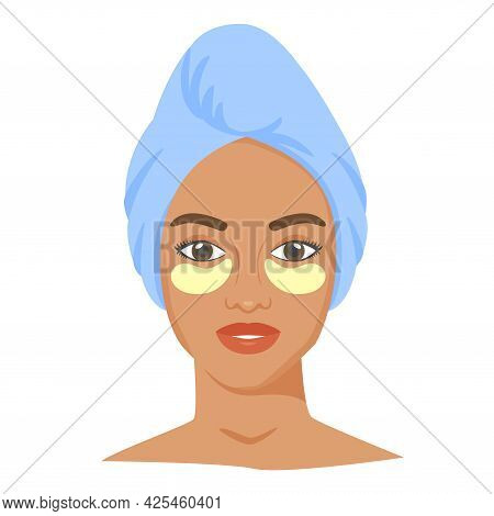 Young Black Woman With Eye Patches And Towel On Head. Skincare Procedures At Home. Cosmetic Eye Pads