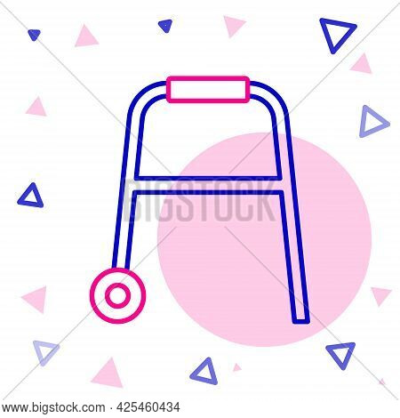 Line Walker For Disabled Person Icon Isolated On White Background. Colorful Outline Concept. Vector