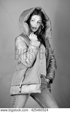 Look Fashionable. Street Style. Girl Wear Fashion Clothes. Winter Outfit Concept. Purposeful Layerin