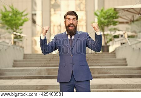 Be Happy. Mature Man In Jacket Feel Happiness. Celebrate Success On The Way To Office. Modern Life F