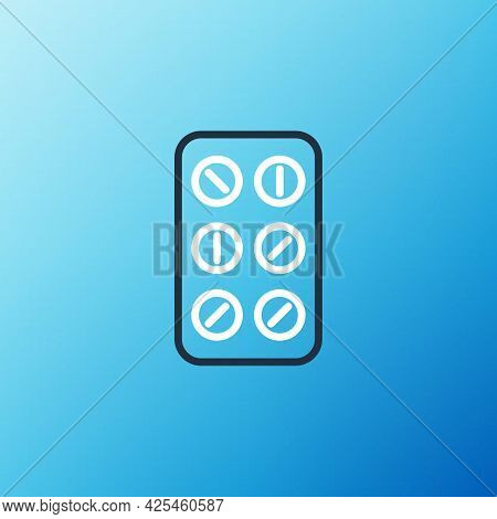 Line Pills In Blister Pack Icon Isolated On Blue Background. Medical Drug Package For Tablet, Vitami