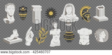Set Of Isolated Antique Statues Icons On Transparent Background With Pieces Of Sculptures Pillars An