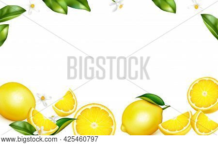 Fresh Lemon Leaves Blossom Fruit Whole Halves Quarters On White Decorative Background Border Realist