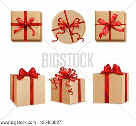 Gifts Presents Square Cube And Round Red Ribbon Decorated Boxes Top Side Views Set Realistic Vector