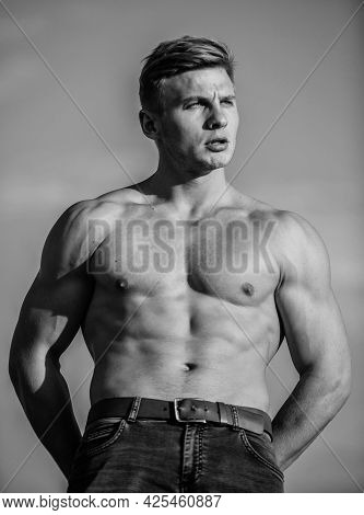 Sexy Body. Triumph And Loss. Bigger Muscles Grow. Increase Overall Muscle Mass. Man Muscular Chest N