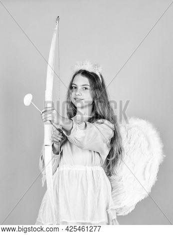Just Happy. Happy Valentines Day. Celebrate Love. Valentine Sale And Discount. Child In Angel Costum