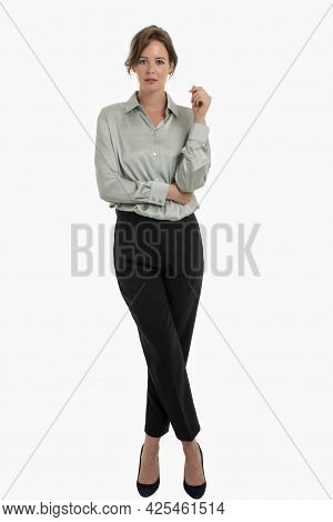 Full Length Shot Of Smiling Busineswoman Standing At Isolated Background.
