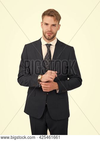 Giving Man Sense Of Style. Stylish Lawyer Isolated On White. Project Manager In Formal Style. Busine