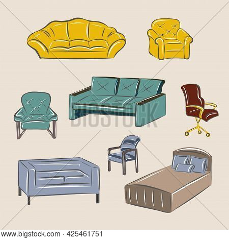 Furniture Set. Sofas, Beds, Armchairs, Chairs. Furniture Store. Classic Interior, Loft. Isolated Vec