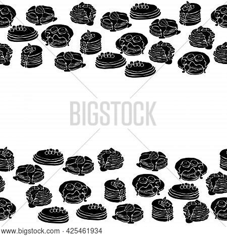 Horizontal Border Of Pancake Silhouettes, Decorative Frame From Stacks Of Pancakes With Various Topp