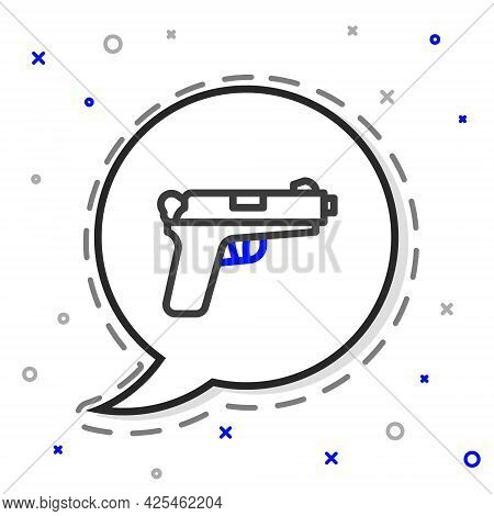 Line Pistol Or Gun Icon Isolated On White Background. Police Or Military Handgun. Small Firearm. Col