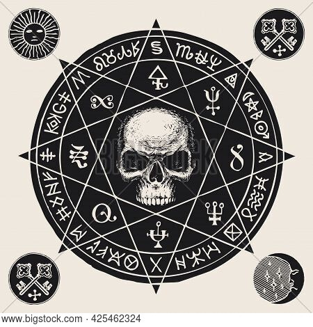 Hand-drawn Illustration With A Sinister Human Skull Inside An Octagonal Star And Esoteric Symbols In