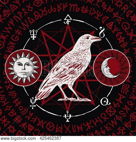 Hand-drawn Illustration Of A Sorcery White Raven On A Black Background With Sun, Moon, Red Magic Run