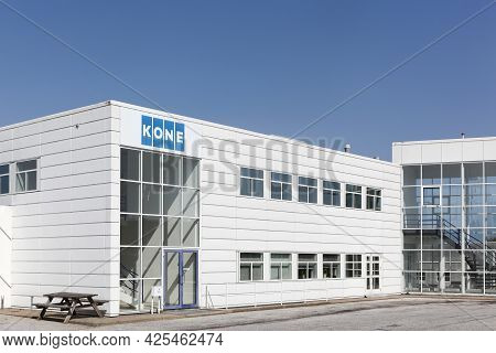 Tilst, Denmark - April 18, 2021: Kone Office Building. Kone Is An International Engineering And Serv