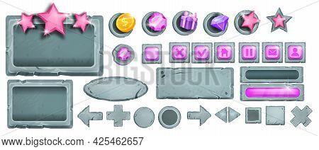 Game Vector Ui Stone Button Set, Interface Rock Icons, Vector Gray Boulder Sign Board, Menu Elements