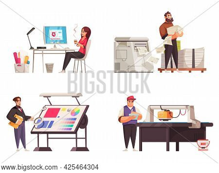 Cartoon Printing House Polygraphy Industry Compositions Set With Designer Editor Workers At Their Wo