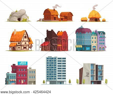 Architectural Style Evolution 9 Housing Images Set From Ancient Stone Age Cave To Modern Buildings V