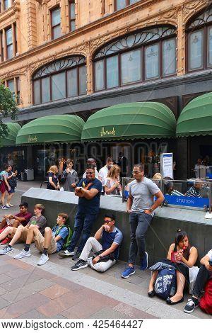 London, Uk - July 9, 2016: People Visit Harrods Department Store In London. The Famous Retail Establ