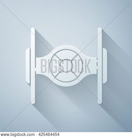 Paper Cut Cosmic Ship Icon Isolated On Grey Background. Paper Art Style. Vector