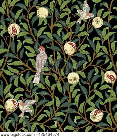 Vintage Birds In Foliage With Birds And Fruits Seamless Pattern On Dark Background. Middle Ages Will