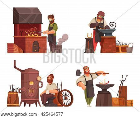Traditional Blacksmith Workshop Concept 4 Cartoon Compositions With Forge Anvil Hammer Chisel Wrough