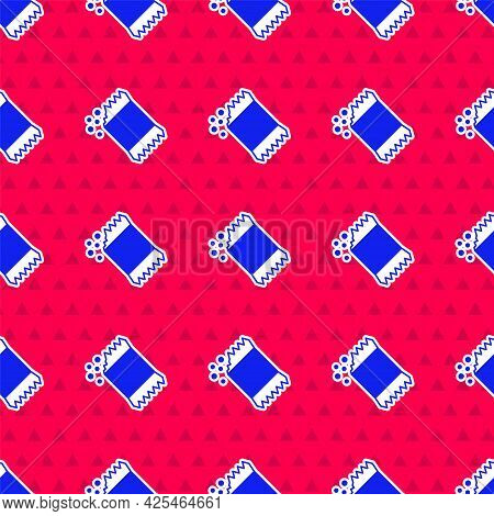 Blue Packet Of Pepper Icon Isolated Seamless Pattern On Red Background. Vector