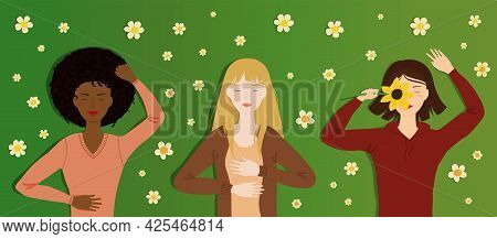 Vector Illustration Of Three Adult Women Lying On Grass With Closed Eyes. Concept Of Inner And Outer