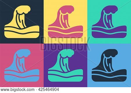 Pop Art Tsunami Icon Isolated On Color Background. Flood Disaster. Stormy Weather By Seaside, Ocean
