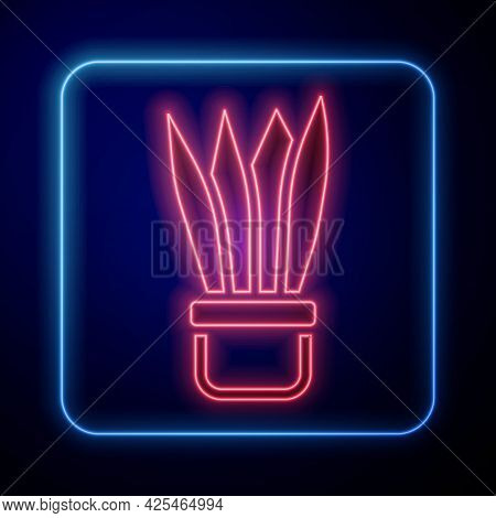 Glowing Neon Plant In Pot Icon Isolated On Black Background. Plant Growing In A Pot. Potted Plant Si