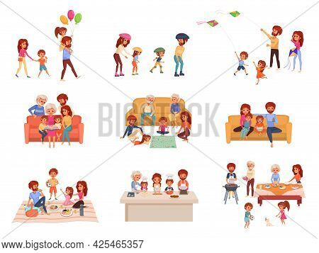 Family Holidays Cartoon Icon Set The Family Spends Time Together Playing Board Games Going For Walks