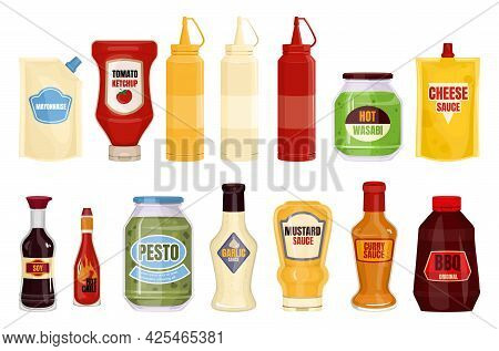 Sauce Ketchup Soy Mayonnaise Mustard Fast Food Packaging Composition With Set Of Isolated Images Of