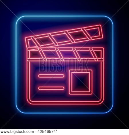 Glowing Neon Movie Clapper Icon Isolated On Black Background. Film Clapper Board. Clapperboard Sign.