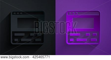 Paper Cut Video Recorder Or Editor Software On Laptop Icon Isolated On Black On Purple Background. V