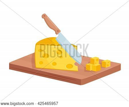 Dice Cut Cheese Isometric Diced Cheese On Wooden Board While Cooking Food Process