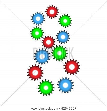 Номер восемь от цвета зубчатые колеса